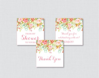 Floral Baby Shower Printable Favor Tag - Pink and Gold Flower Baby Shower Thank You Tag, From My Shower to Yours Tags Shabby Chic - 0041