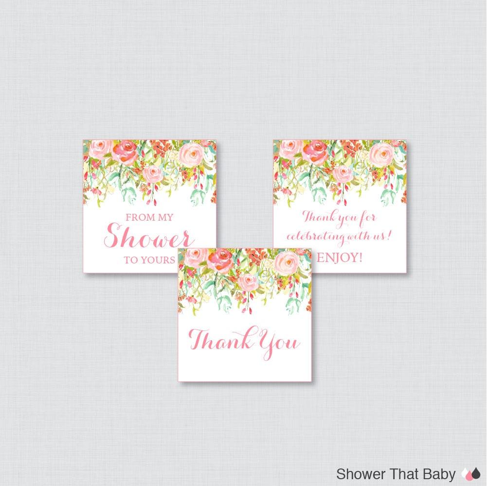Floral Baby Shower Favors ~ Floral baby shower printable favor tag pink and gold flower