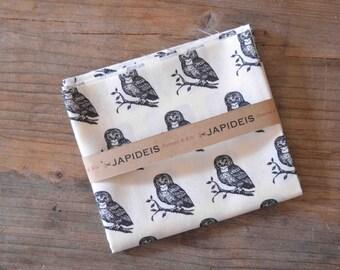 Fat quarter black owls Kokka fabric