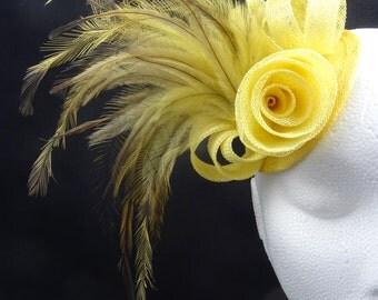 Primrose yellow fascinator hat, feather and sinamay hatinator headpiece
