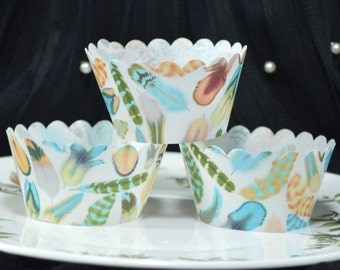Edible Cupcake Wrappers Feathers Mango Maya Chintz x 12 Wafer Paper Wedding Cupcake Cases Decorations Wild One Birthday 1st Fairy Cake RTD