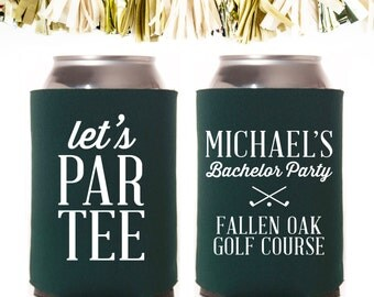 Let's Par Tee Golfing Bachelor Party Favors: Custom and Personalized Can Cooler Wedding Favors // Golf Course Retreat Bachelors