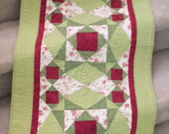 Quilted Table Runner, Storm at Sea Table Runner, Quilted Bed Runner, Quilted Runner