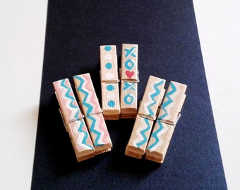 Chevron Clothespins,Wooden Clothespins,Tiny Clothespins,Clothespins Photo Holder,Turquoise Polka,Blue Mini Clothespins,Pink Polka Dots