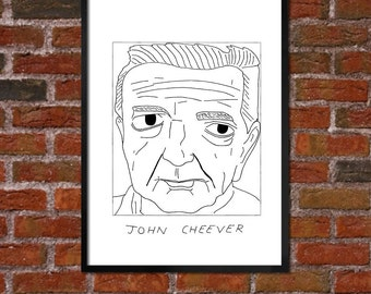 Badly Drawn John Cheever - Literary Poster - *** BUY 4, GET A 5th FREE***