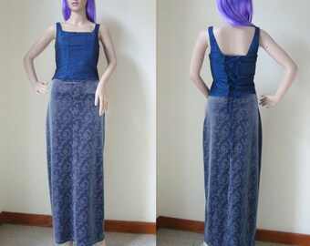 MAXI GREY SKIRT -floral, flowers, shiny, silver, gothic, grunge, 90s, 80s, clueless, long, stretchy, velvet, indie, aesthetics, glitter-