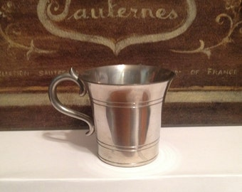 L.H. Vaughn Pewter Mug, Taunton Mass Vintage Collectible Pewter Cup with Handle Gray Patina, Baby Cup, Colonial Americana, Primitive, Gift