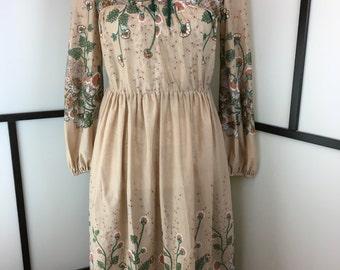 Tan Floral Dress, Vintage Dress, 1970s, Sheer Dress, Women's Floral Dress, Tan Dress, Vintage Floral Dress, Size Medium