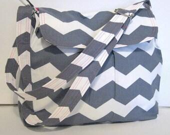 GRAY AND WHITE Chevron Handbag / Purse, Cross Body Chevron Bag, Pleated, Adjustable Strap, Made To Order