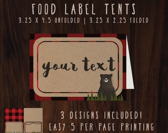 Lumberjack Food tents | Bear Woodland | buffalo plaid | food labels  | Instant download printable files | Blank and editable text