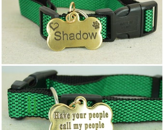 Large Dog Tag, Pet ID Tag, Bone Shaped Tag, Solid Brass, Customized, Personalized, Pet Tags, Dog Tag, Pet Tag, Dog Collar Tag, Brass Tag