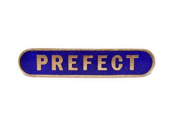 Vintage 1960s Prefect pin, prefect badge, blue enamel school badge, school uniform, goldtone pin, dark blue enamel, Thomas Fattorini