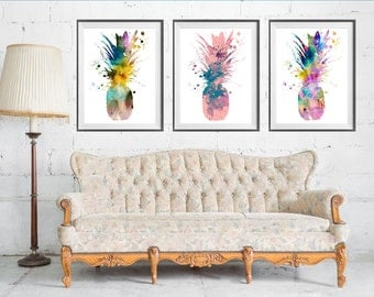 Awesome Pineapple SET Watercolor Print, Pineapple Art, Watercolor Painting,  Botanical Art, Art For