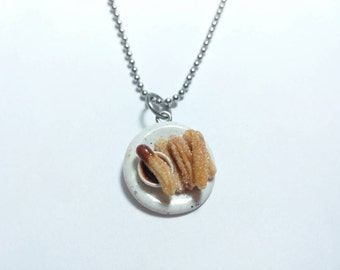 Churros and Chocolate Charm, Churro Necklace, Churro  Charm, Food Charms, Miniature Food Jewelry, Polymer Clay Food