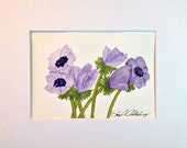 Blue Anemone Painting, 5x7, Soft Greens with Blues and Purples, in 8x10 Mat, Frame Ready