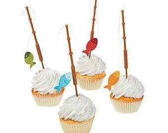 My Fishing picks/ cupcake picks / food picks / fishing/ fish / fisherman