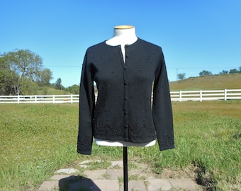 90's Vintage Beaded Black Wool Cardigan Sweater (Talbots- Women's Petite Size Medium)
