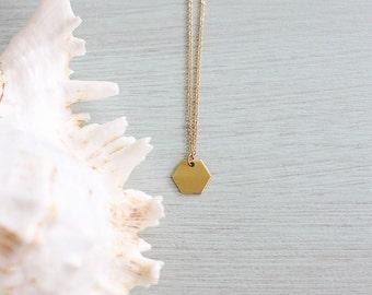 Tiny hexagon necklace - Little hexagon necklace - Small gold hexagon necklace - Gold hexagon pendant - Brass necklace - Tiny gold necklace