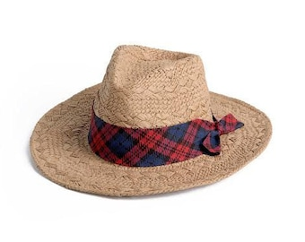 Banded straw hat , Panama hat, decorated with a stunning Tartan plaid pattern ribbon , Gift for him.