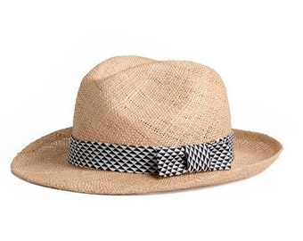 Straw summer hat , Unisex Panama hat , decorated with a stunning black and white ribbon , Gift for him.
