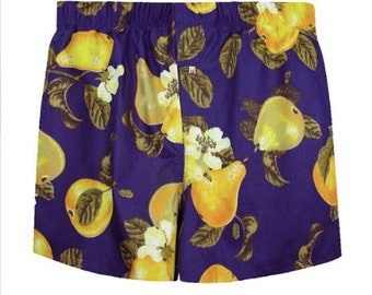 Boxer shorts for men blue with fruts pears flowers