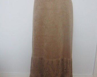 Women Boho Skirt Tan Nubuk Suede FishTail Mermaid Skirt Vintage Summer Boho Maxi Skirt 80s Beige Vintage Retro Lace Hem Skirt Ready to ship