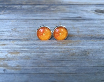 Orange earrings, stud earrings, Fruit stud earrings, cabochon earrings, 12mm earrings