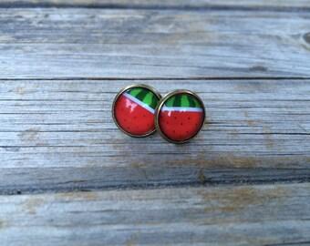 Watermelon earrings, stud earrings, Fruit stud earrings, cabochon earrings, 12mm earrings
