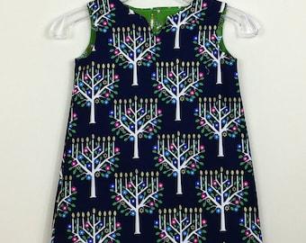 "Size 5 - FULLY REVERSIBLE - ""Cassie Dress"" - Interfaith Holiday -  Hanukkah  - Christmas"