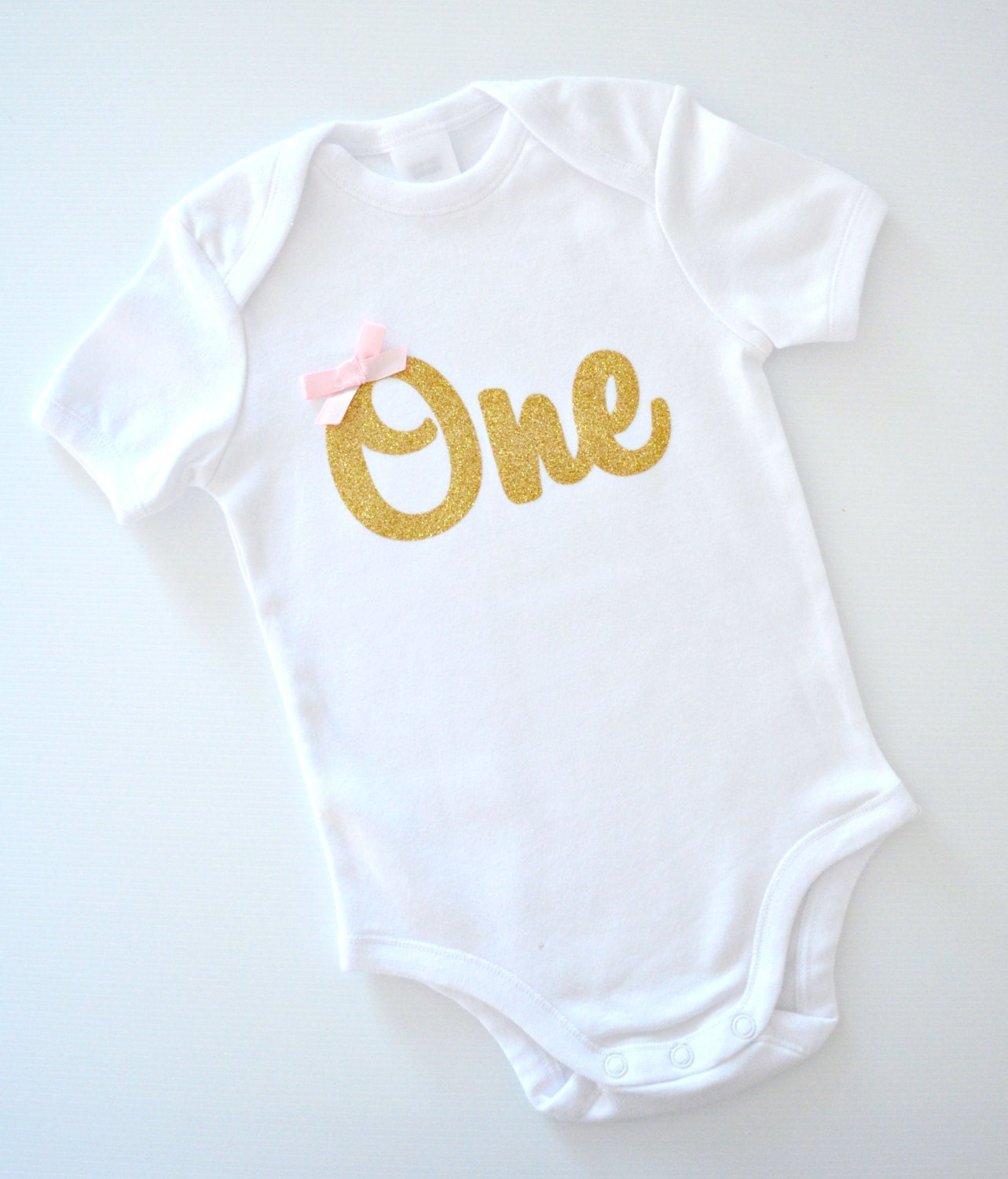 Baby Girl Glitter 'One' 1st Birthday Onesie Bodysuit