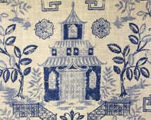 Teahouse Blue - Pagoda Fabric - Asian Fabric -Upholstery Fabric By The Yard