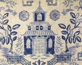 Teahouse Blue - Pagoda Fabric - Asian Fabric -Upholstery Fabric By The Yard