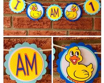 I am 1 high chair rubber ducky banner - First Birthday- I am 1 banner - rubber duckies- Duck banner - 1st Birthday-