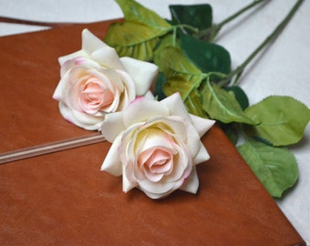 Ivory Blush Pink Real Touch Latex Roses Wedding Flowers Table Centerpieces Real Touch Bridal Bouquets