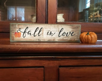 Fall in love - handmade rustic box sign with painted pumpkin