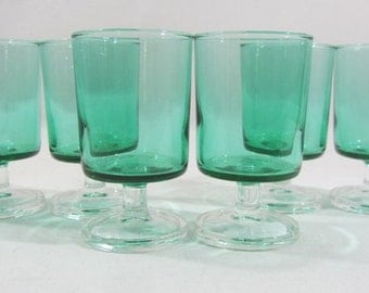 6 Luminarc Cavalier glasses, green glasses, 9cm, 10cl, stem glasses, green cavalier, French vintage, 1970's retro dining, 3 sets available.