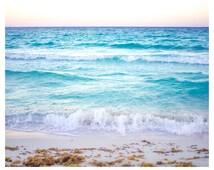 Beach Print, Beach Photography, Surf Art, Sunset Print, Pastel Decor, Living Decor, Turquoise Art, Waves Art, Surfer Art, Surfer Decor