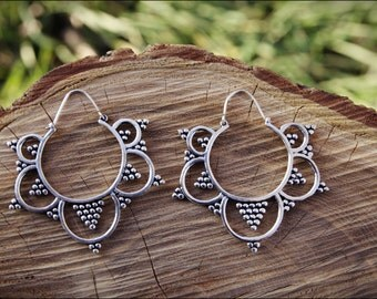 Silver earrings. Hoop earrings. Ethnic style. Tribal jewelry. Boho