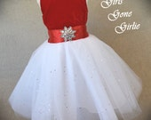 Toddler Christmas dress , girls Christmas dress , toddler red velvet holiday dress , fancy special occasion dress , ready to ship size 4