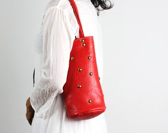Small Red Leather Shoulder Bag/ Riveted Red Leather Bag/Small Red Bucket Bag/Red Sheepskin Leather Bag – SSophia2