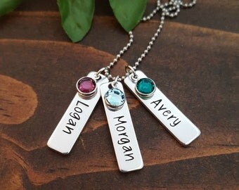 Mothers Necklace | Mommy Necklace with Birthstone Tags Kids Names | Mom Necklace | Gifts For Mom | Personalized Birthstone Necklace