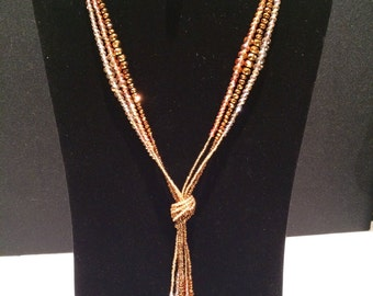 Golden Brown Knotted Necklace.