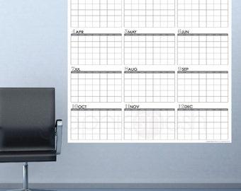 HUGE YEARLY BLANK Calendar - Jan thru Dec - Dry Erase Wall Decal 48x50 inches