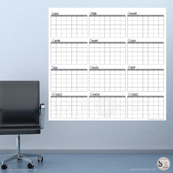 Huge Yearly Blank Calendar Jan Thru Dec Dry Erase Wall