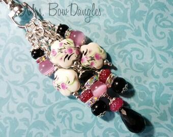 Unique Purse Charm By MrsBowDangles Flower Purse Charm Key Chain Charm Handbag Lanyard Charm Keychain Fob Sparkle Dangle #583