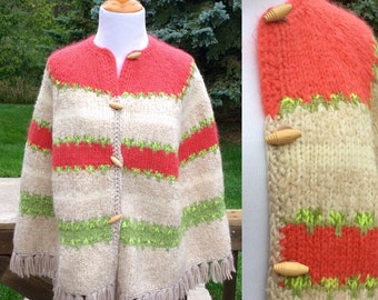 RESERVED FOR NURSETRISHBeautiful 1960's/1970's Wool/Mohair Button Down Poncho/Cape