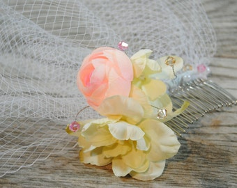 Pink Birdcage Veil - Ivory Flower Birdcage Veil  - Flower Bird Cage Veil - Floral Wedding Veil - Pink Bridal Veil - Pink Wedding Headpiece