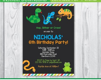 reptile invitation, reptile birthday party, reptile birthday invitations, snake, chameleon, frog, lizard, chalkboard, instant download