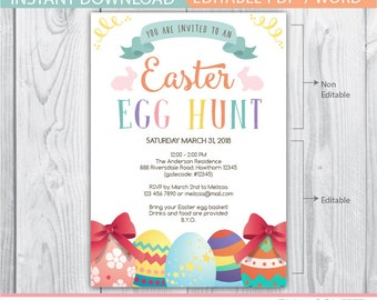 egg hunt invitation, easter egg hunt invitation, easter invitation, easter party, egg hunt, chalkboard invitation, easter eggs, easter bunny