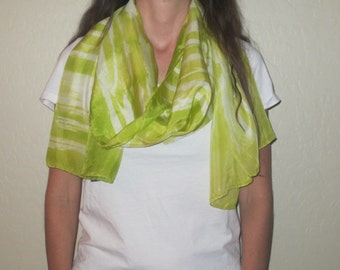 """Silk Scarf, 22"""" x 72"""", Defy Collection-Chartreuse"""